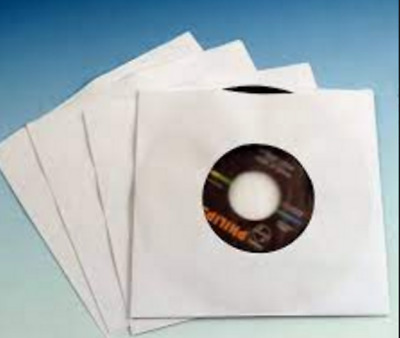 50 7  Vinyl Paper Record Sleeves - White - Highest Quality Premium 90 Gsm ! • 4.89£