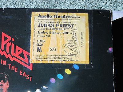 JUDAS PRIEST Unleashed In The East CBS LP + AUTOGRAPHED GIG TICKET CBS 83852! • 45£