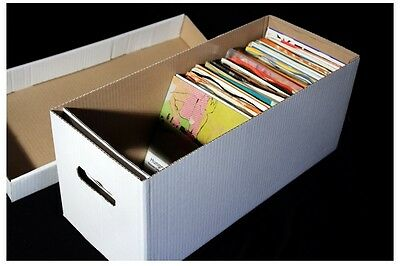 1 X 7  RECORD STRONG CARDBOARD ARCHIVE BOX AND LID - HOLDS 200 VINYL • 10.95£