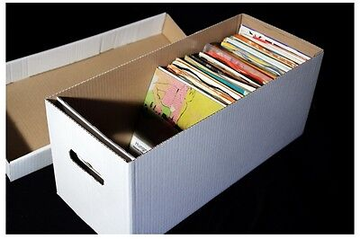 1 X 7  RECORD STRONG CARDBOARD ARCHIVE BOX AND LID - HOLDS 200 VINYL • 9.95£