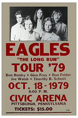 The Eagles * The Long Run Tour * Pittsburgh  PA.  Concert Poster 1979  12x18 • 9£
