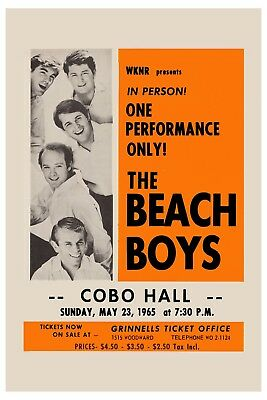 The Beach Boys At  Detroit Cobo Hall Concert  Poster 1965  12x18 • 8.89£