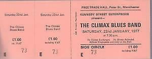 CLIMAX BLUES BAND Free Trade Hall Manchester 22Nd Jan 1977 TICKET UK Original • 8.39£