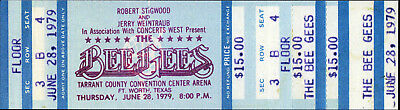 BEE GEES Concert Ticket - Fort Worth, TEXAS 1979 - Reprint • 3.99£