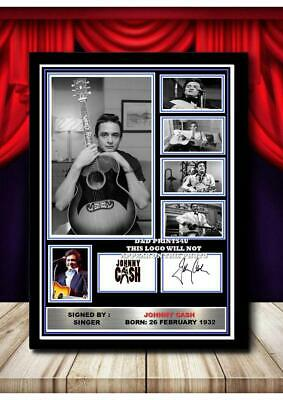 (#307) Johnny Cash Signed  A4 Photo//framed (reprint) Great Gift @@@@@@@@@@@@@@@ • 14.99£