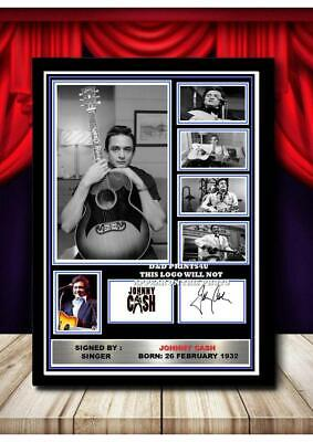(#307) Johnny Cash Signed  A4 Photo//framed (reprint) Great Gift @@@@@@@@@@@@@@@ • 5.99£