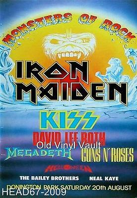 Iron Maiden-Monsters Of Rock Donington Park UK August 20th 1988 Concert Poster • 4.45£