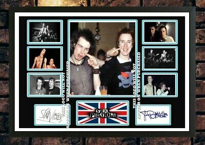 (#463) Sid Vicious & Johnny Rotten Signed A4 Photo//framed (reprint) Great Gift • 14.99£