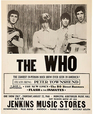 THE WHO Concert Window Poster - Kansas City, Missouri 1968 - Reprint • 4.99£