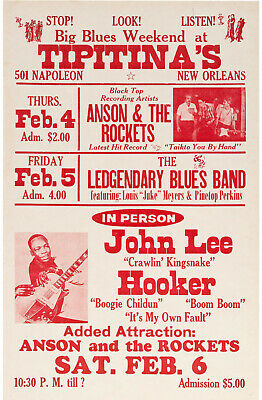 JOHN LEE HOOKER Concert Window Poster - Tipitina's NEW ORLEANS 1982 - Reprint • 4.99£