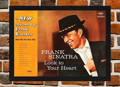 Framed Frank Sinatra Look To Your Heart Poster A4/A3 Size In Black/White Frame • 9.99£