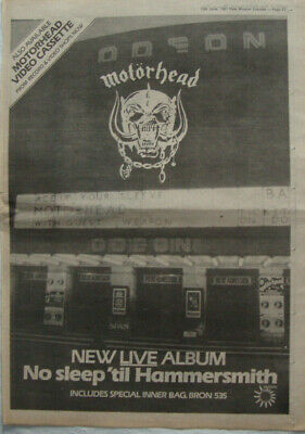 MOTORHEAD - NO SLEEP 'TIL HAMMERSMITH - 1981 Poster Sized Music Press Advert! • 8.95£