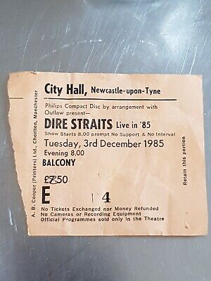 Rare Collectable Dire Straits Live 85 Ticket Newcastle City Hall  1985 • 25£
