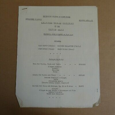Concert Programme UNIVERSITY COLLEGE NORTH WALES Powis Hall 1960 • 10£
