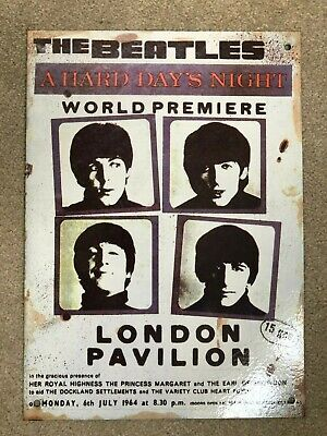 The Beatles A Hard Day's Night London Pavilion Metal Sign Poster (Rare) • 5£