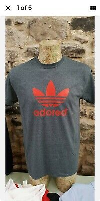 Adored Charcoal And Red Tee T Shirt Stone Roses Madchester Hacienda Ian Brown • 13.99£