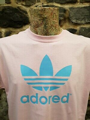 Adored Blue Logo Pink Tee T Shirt Stone Roses Madchester Hacienda Ian Brown • 13.99£
