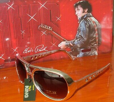 *ELVIS PRESLEY* Style Sunglasses Gold Frames  ( NEW ) • 7.95£