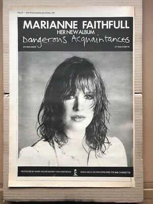 MARIANNE FAITHFULL DANGEROUS ACQUAINTANCES POSTER SIZED Original Music Press Adv • 11£