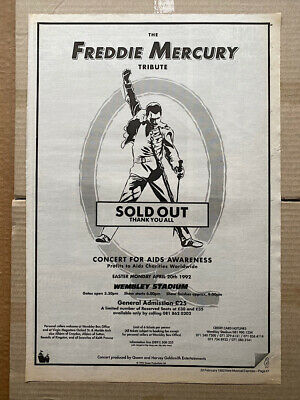 QUEEN FREDDIE MERCURY TRIBUTE POSTER SIZED Original Music Press Advert From 1992 • 13£