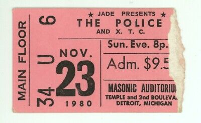 RARE The Police & XTC 11/23/80 Detroit Masonic Auditorium Ticket Stub! • 25.92£