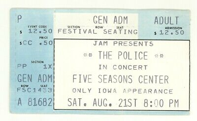 RARE The Police & The Beat 8/21/82 Cedar Rapids IA Concert Ticket Stub! • 14.81£