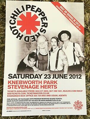Red Hot Chilli Peppers Knebworth Tour London Flyer White • 2.50£