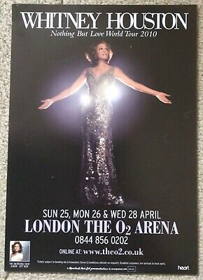 Whitney Houston Nothing But Love Tour 2010 London Flyer Black • 2.50£