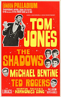 TOM JONES Concert Window Poster - London Palladium 1968 - Pop Singer - Reprint • 5.50£