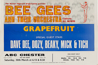THE BEE GEES Concert Window Poster - ABC Chester 1968 - DD, D, B, M, T - Reprint • 5.50£