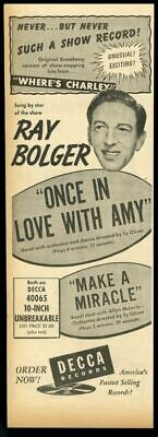 1949 Ray Bolger Photo Decca Records Vintage Trade Print Ad • 26.23£
