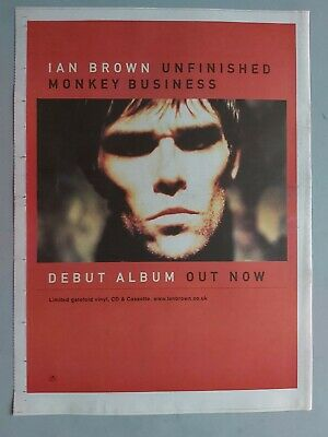 Ian Brown Unfinished Monkey Business Stone Roses Original Trade Advert / Poster • 7.99£