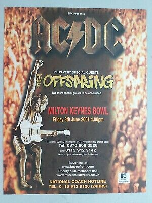 Ac/dc Offspring Milton Keynes Bowl Live 2001 Original Trade Advert / Poster • 7.99£