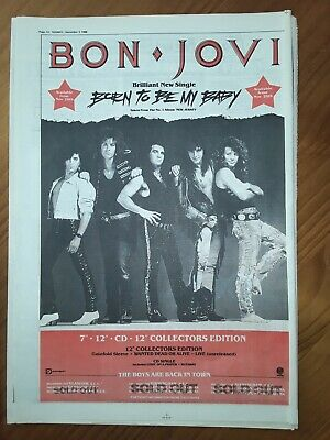 Bon Jovi Born To Be My Baby Single 1 Page Advert Sounds Dec 3 1988 12 X17  • 5£