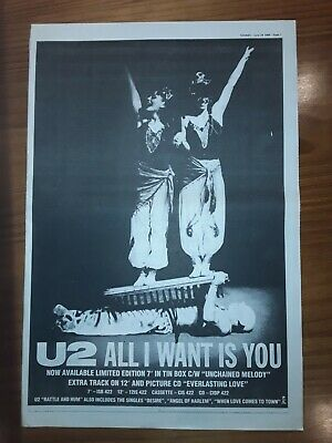 U2 Rattle And Hum Motion Picture, 1 Page Sounds Advert March 25th 1989 12 X17  • 5£