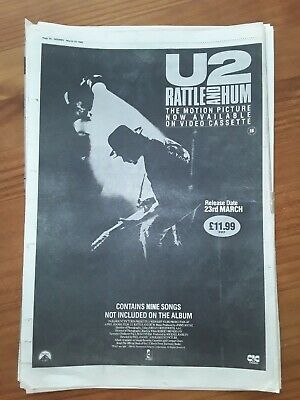 U2 Rattle And Hum Motion Picture, 1 Page Sounds Advert March25th 1989 12 X17  • 5£