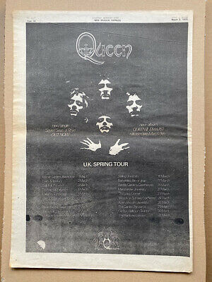 QUEEN 1974 SPRING TOUR POSTER SIZED Original Music Press Advert From 1974 (AGED) • 13£