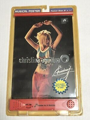 CHRISTINA AGUILERA SEALED MUSICAL POSTER 2001 GENIE IN A BOTTLE SIZE 8X11 Inches • 0.01£