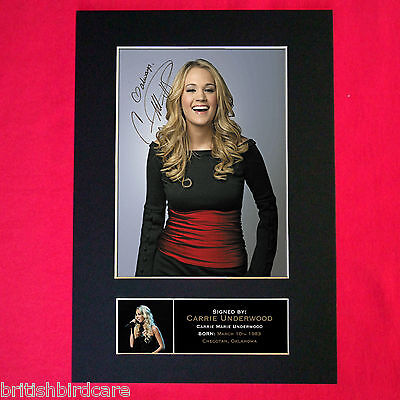 CARRIE UNDERWOOD Signed Reproduction Autograph Mounted Photo Print A4 260 • 6.99£