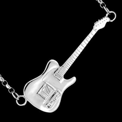 Mens Sterling Silver Rick Parfitt Fender Telecaster Electric Guitar Necklace 925 • 99.95£