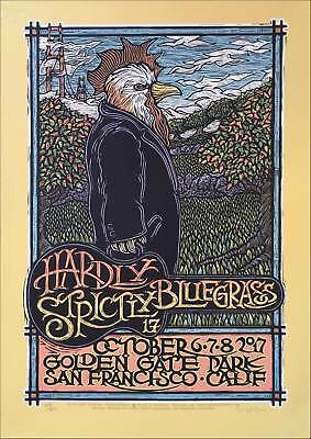 Hardly Strictly Bluegrass Poster Orig Silkscreen S/N 650 COA Signed Gary Houston • 93.80£