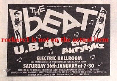 The BEAT UB40 UK TIMELINE Advert - Electric Ballroom Sun-26-Jan-1980 2x3 Inches • 3.95£