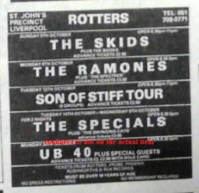 UB40 UK TIMELINE Advert - Liverpool Rotters 25-Oct-1980 4x3 Inches • 5.95£