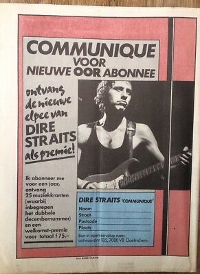 DIRE STRAITS Communique 1979 Dutch Press ADVERT 11x8 Inches • 7.95£