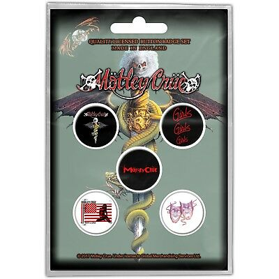 Official Licensed Merch 5-BADGE PACK Metal Pin Badges MOTLEY CRUE Dr. Feelgood • 4.99£