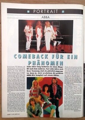ABBA 'portrait' 1992 GERMAN Magazine ARTICLE / Clipping • 9.95£