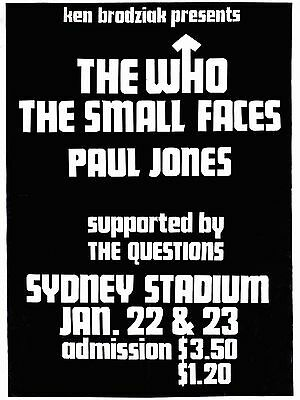 The Who / Small Faces Australia 16  X 12  Photo Repro Concert Poster • 5.50£