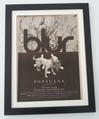 BLUR*Popscene*1992*ORIGINAL*POSTER*AD*FRAMED*FAST WORLD SHIP • 69.95£