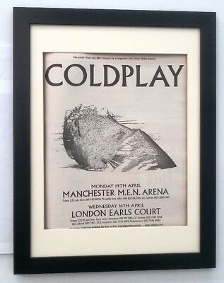 COLDPLAY 2002 UK Tour*ORIGINAL*POSTER*AD*FRAMED*FAST WORLD SHIP • 69.95£