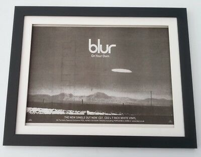 BLUR*On Your Own*1997*ORIGINAL*POSTER*AD*FRAMED*FAST WORLD SHIP • 69.95£